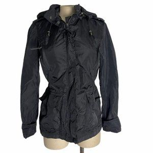 ZARA Black Nylon Lightweight Jacket Windbreaker S